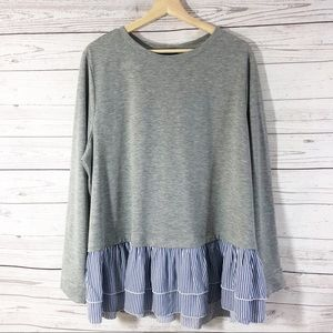 Lane Bryant Gray/ Blue Ruffled Pullover Top 18-20